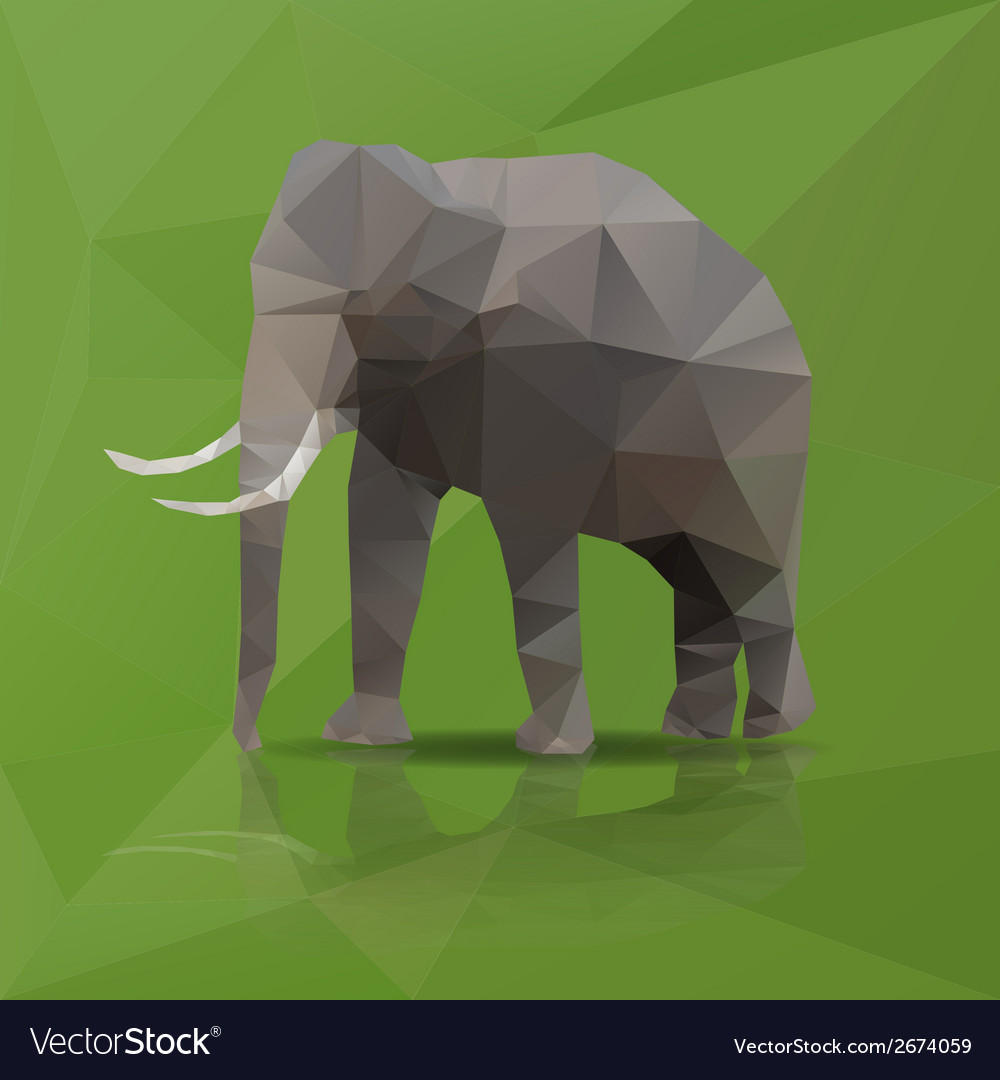 Big elephant from triangles eps10 vector | Price: 1 Credit (USD $1)