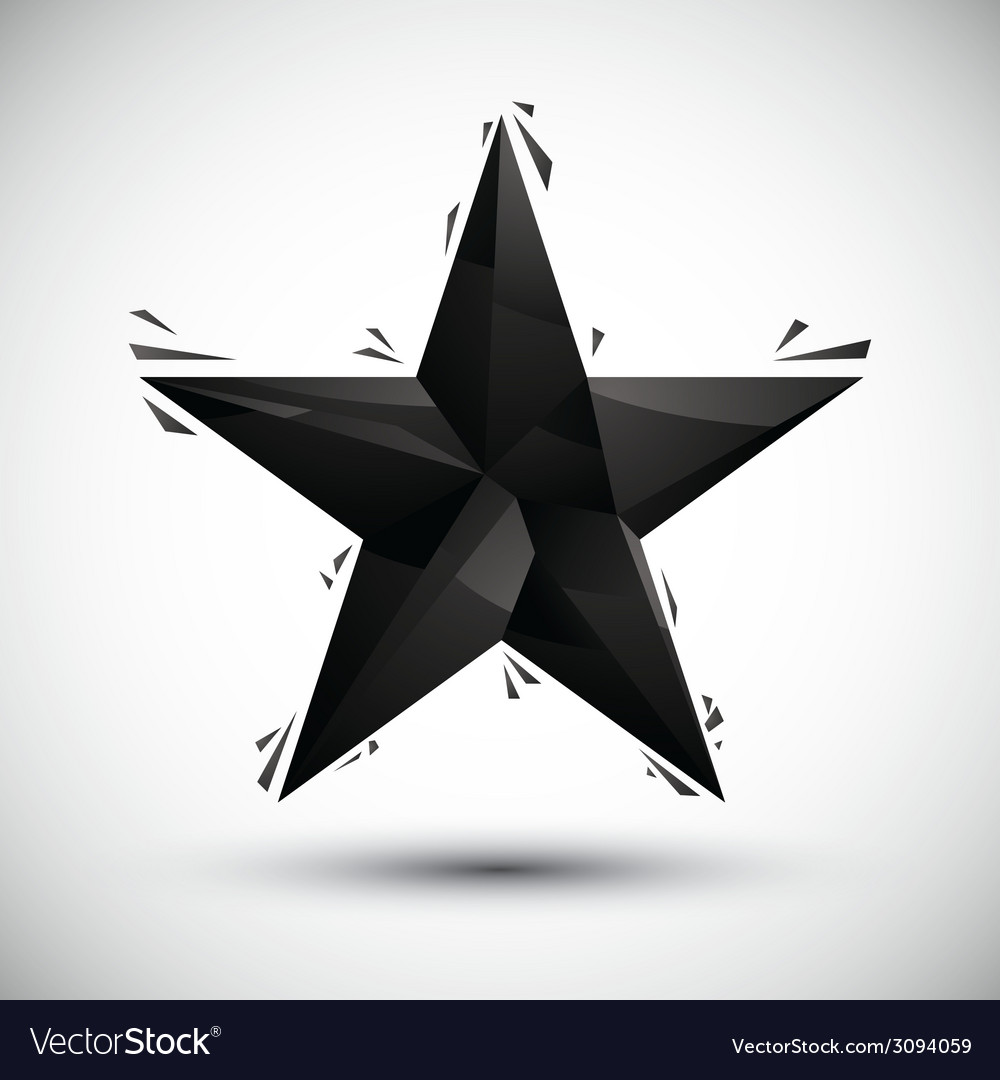 Black star geometric icon made in 3d modern style vector | Price: 1 Credit (USD $1)