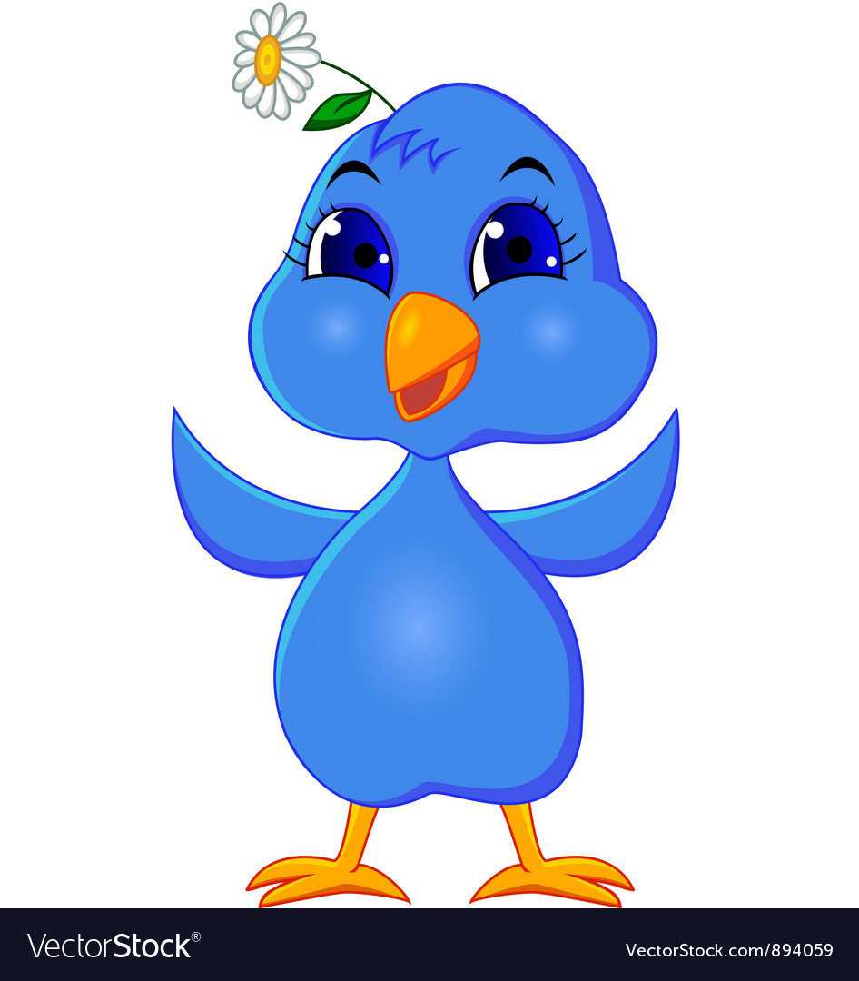 Cute blue bird cartoon vector | Price: 3 Credit (USD $3)