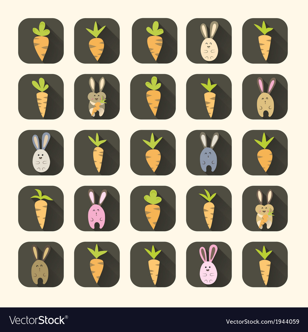 Easter carrots and rabbits icon set vector | Price: 1 Credit (USD $1)