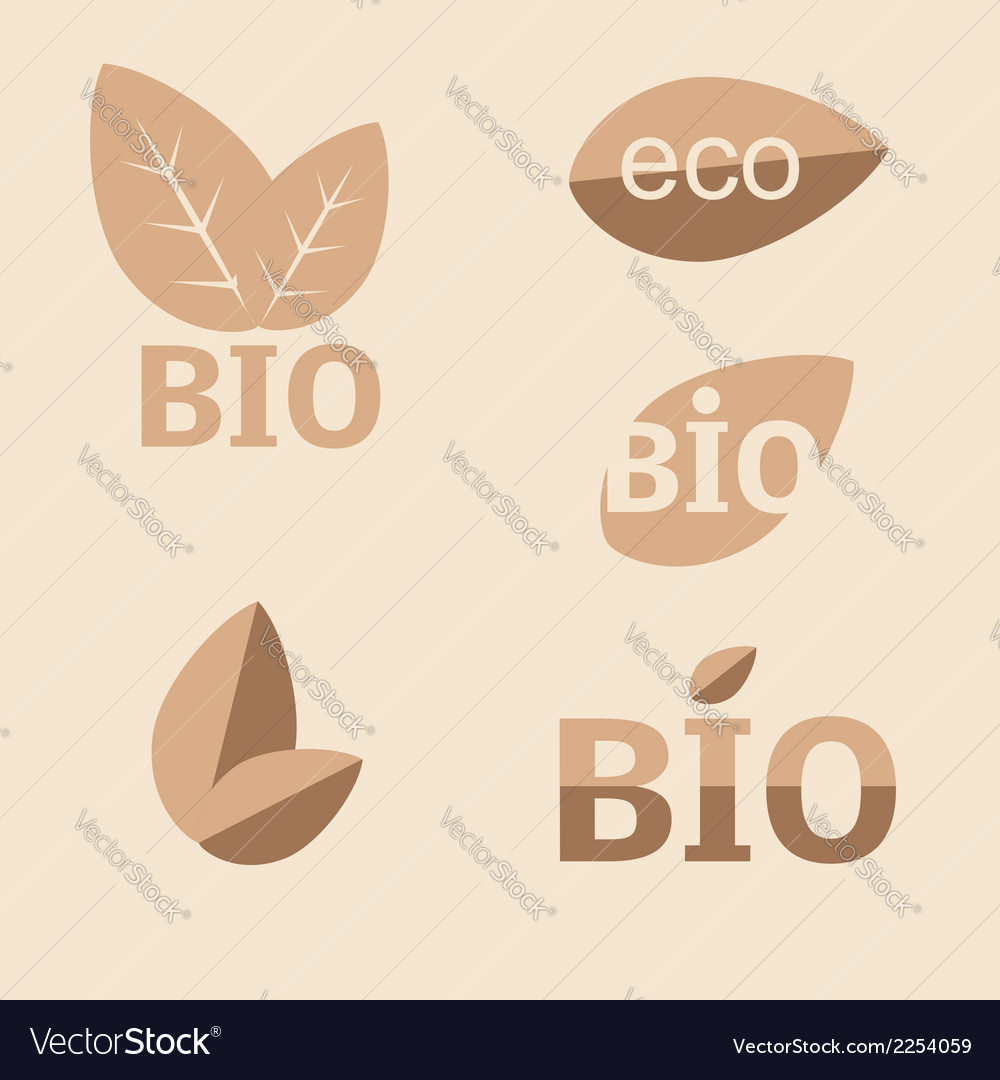 Ecology organic icon set eco-icons vector | Price: 1 Credit (USD $1)