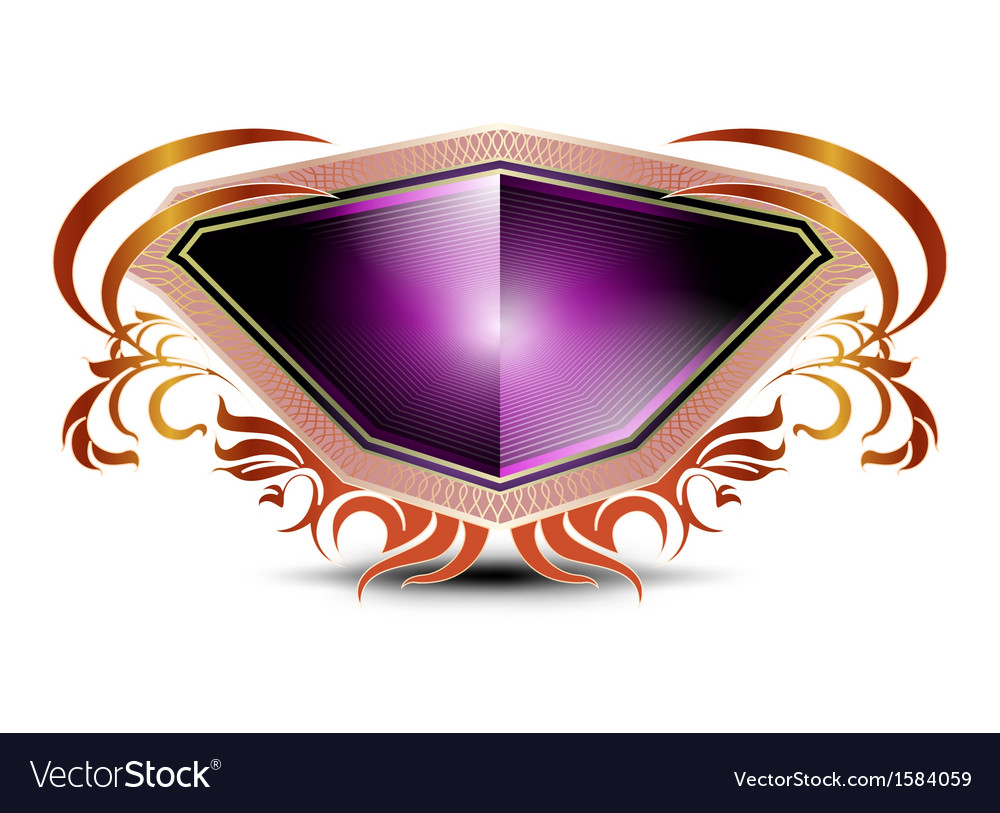 Elegant purple shield on a white background vector | Price: 1 Credit (USD $1)