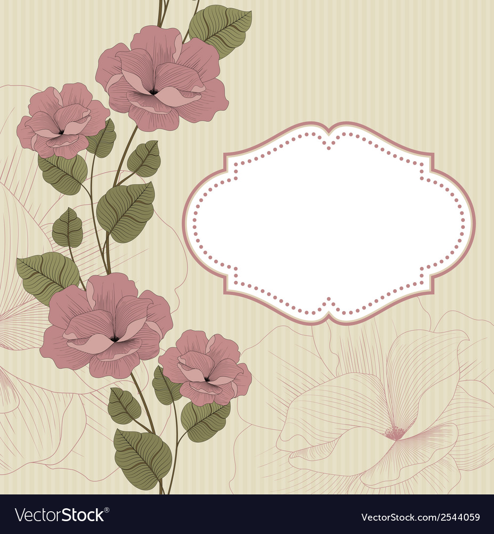 Floral background in retro with frame vector | Price: 1 Credit (USD $1)