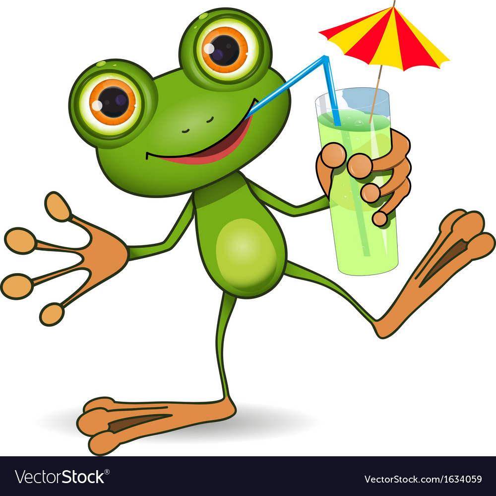 Frog and cocktail vector   Price: 1 Credit (USD $1)