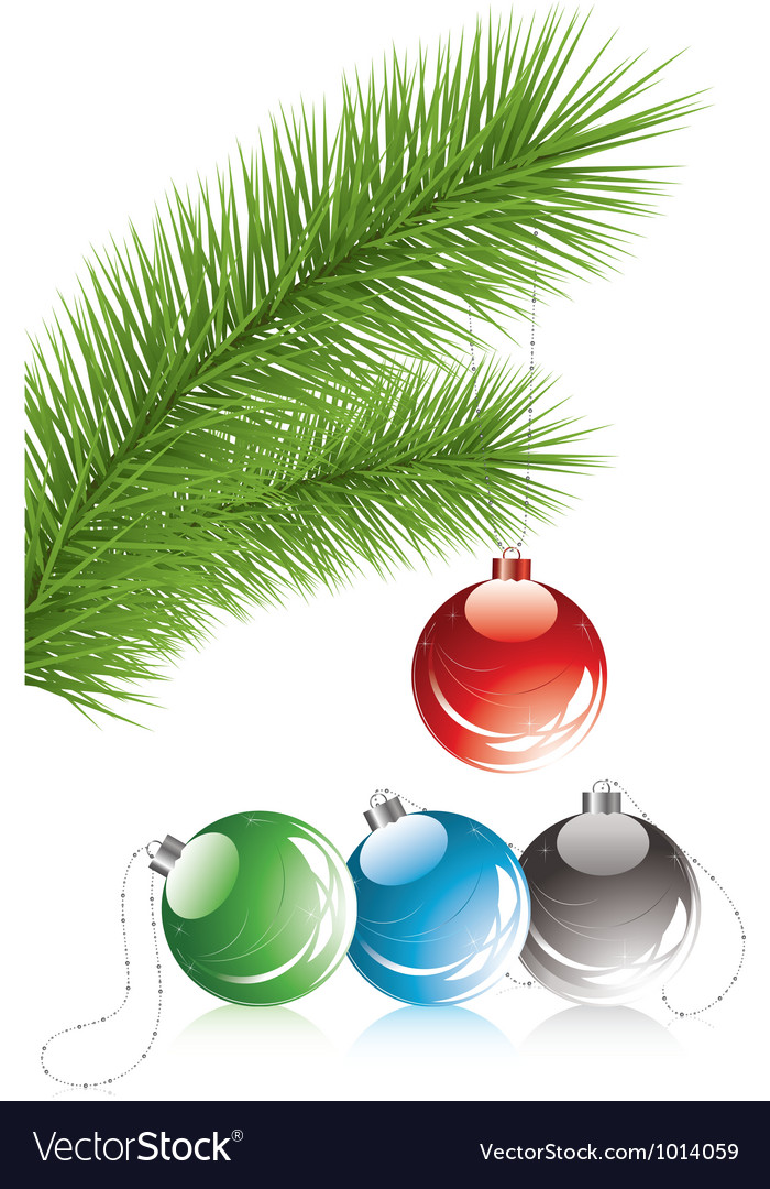 Fur tree branch and xmas decoration vector | Price: 1 Credit (USD $1)
