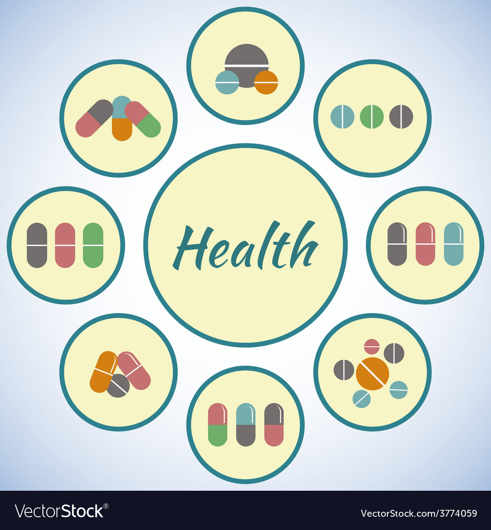 Health card pharmacy icons set pills and capsules vector | Price: 1 Credit (USD $1)