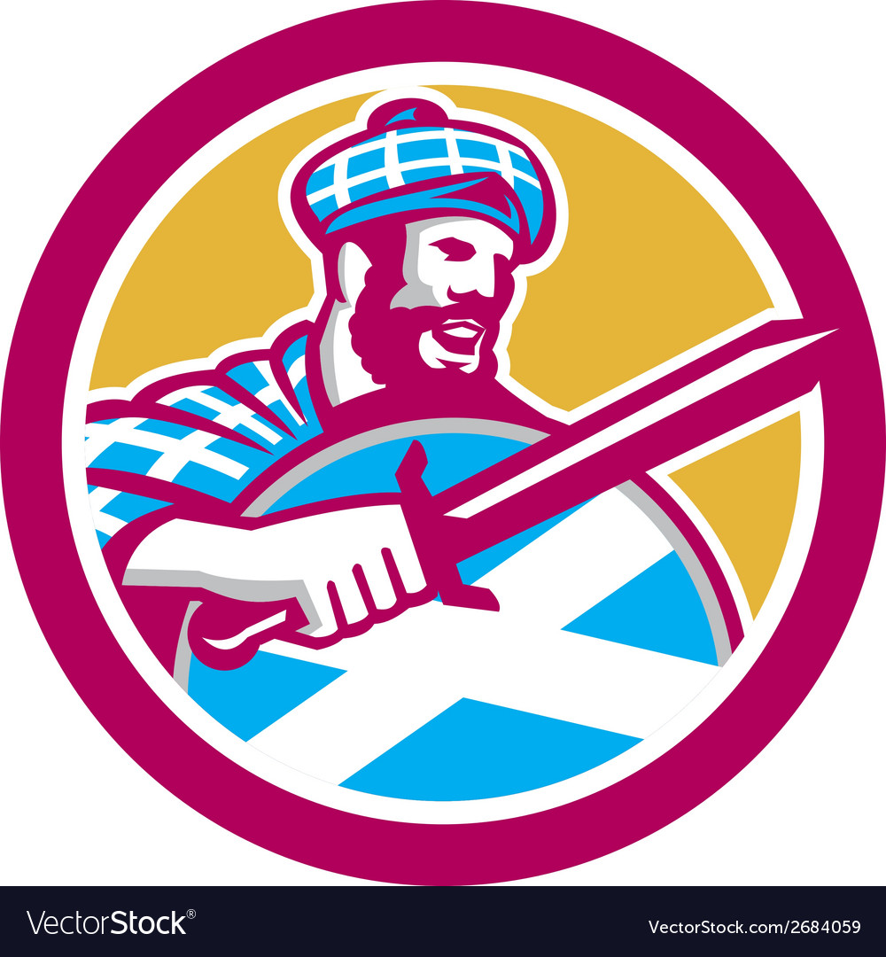 Highlander scotsman sword shield circle retro vector | Price: 1 Credit (USD $1)