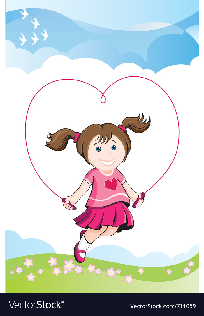 Jumping girl in love vector | Price: 1 Credit (USD $1)