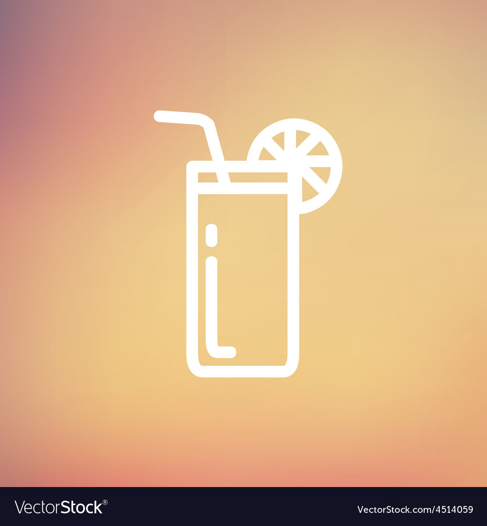Orange juice glass with drinking straw thin line vector | Price: 1 Credit (USD $1)