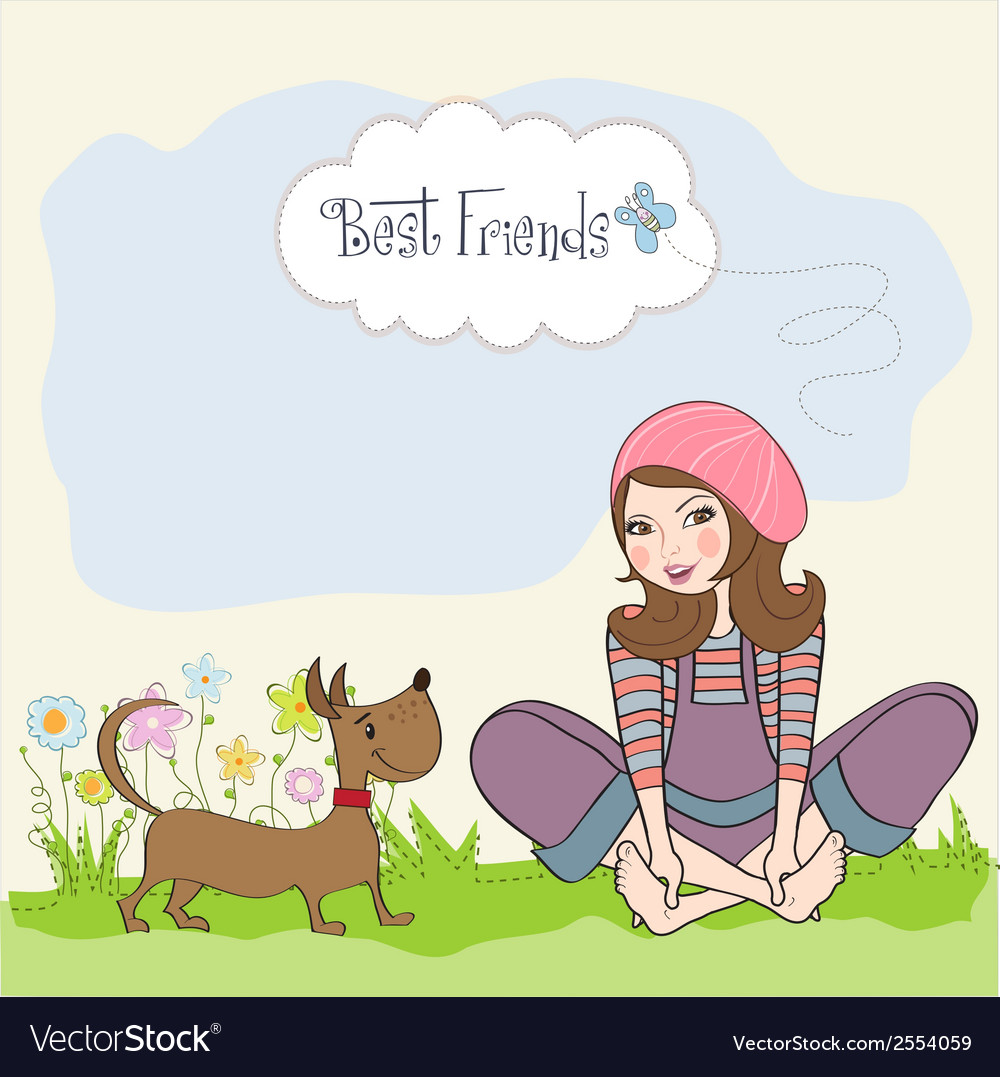 Romantic girl sitting barefoot in the grass with vector | Price: 1 Credit (USD $1)