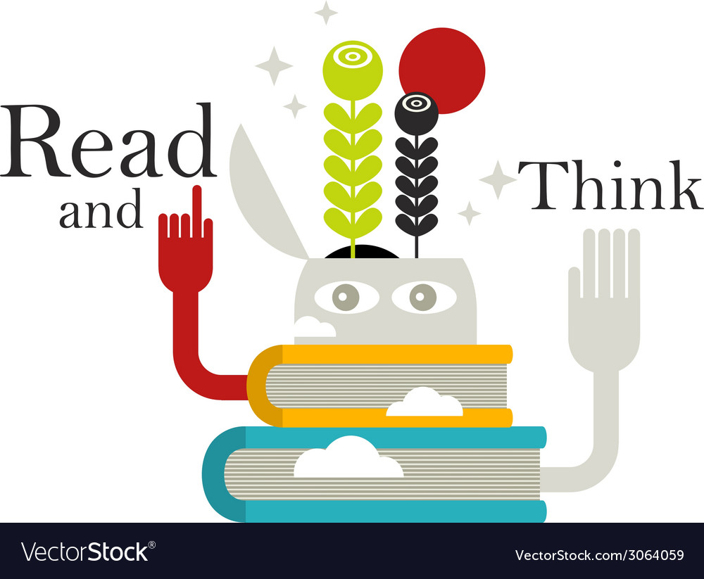 Strange creature with abstract books vector | Price: 1 Credit (USD $1)