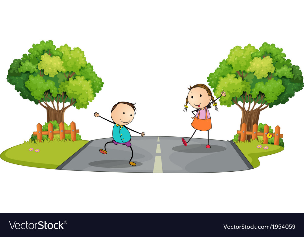 Two kids playing at the street vector   Price: 1 Credit (USD $1)