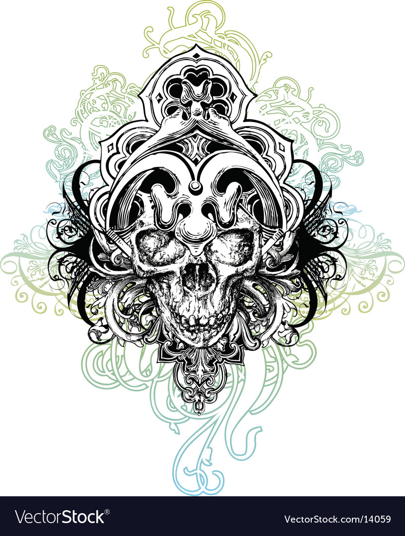 Warrior skull illustration vector | Price: 1 Credit (USD $1)