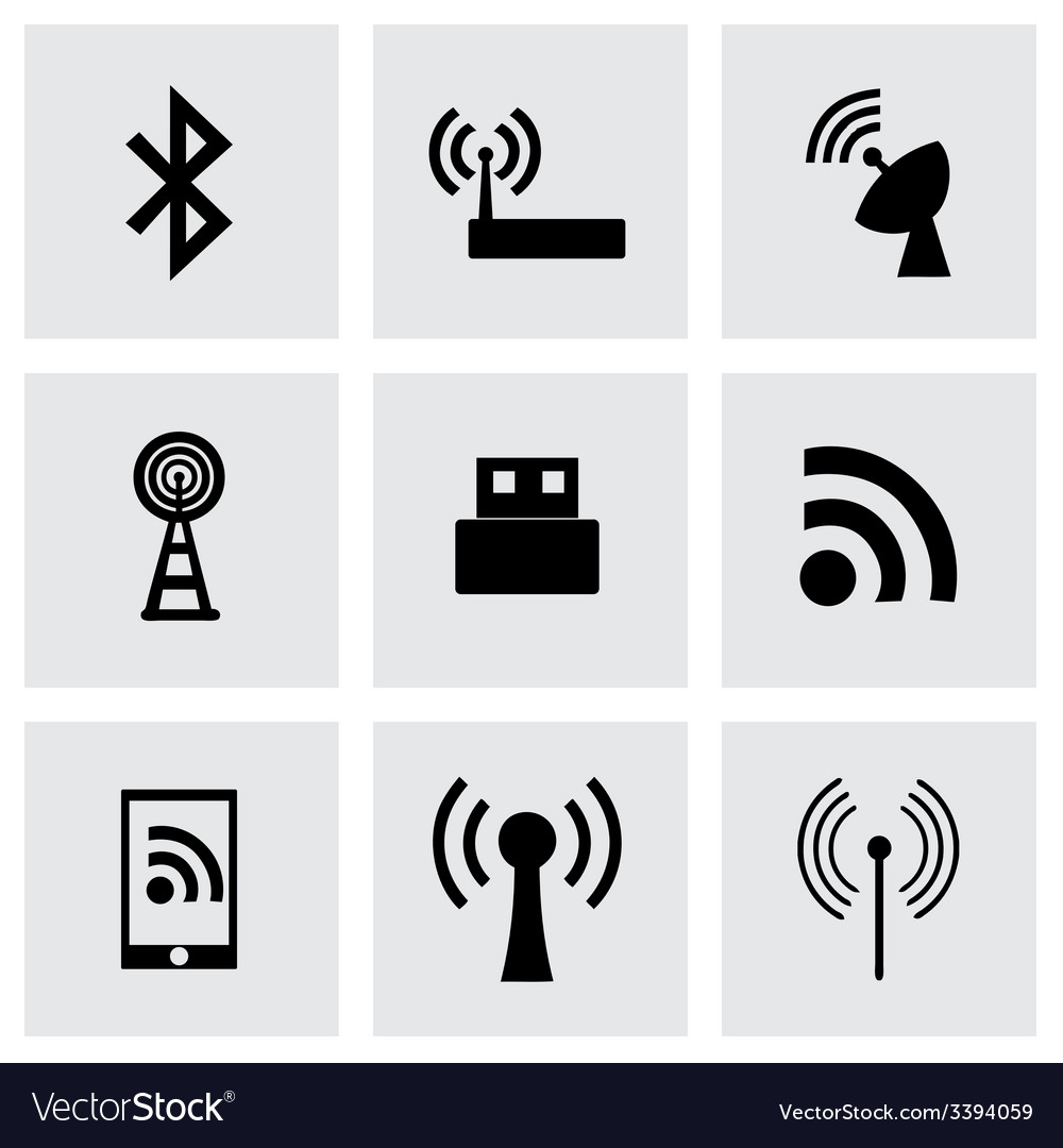 Wireless icon set vector | Price: 1 Credit (USD $1)