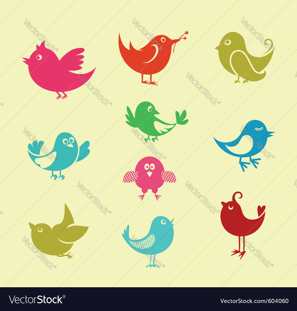 Cartoon doodle birds vector | Price: 1 Credit (USD $1)