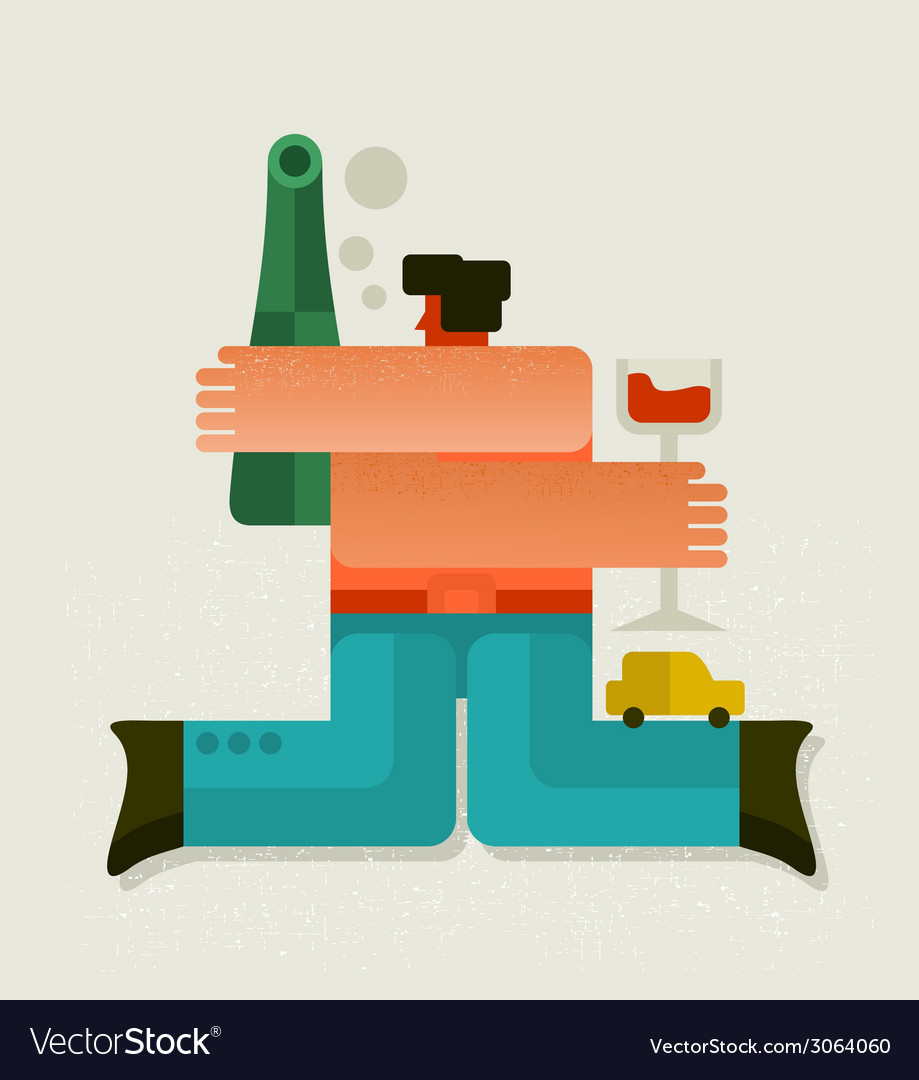 Drunk man with the bottle vector | Price: 1 Credit (USD $1)