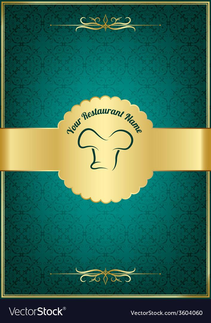 Green decorative restaurant menu cover vector | Price: 1 Credit (USD $1)