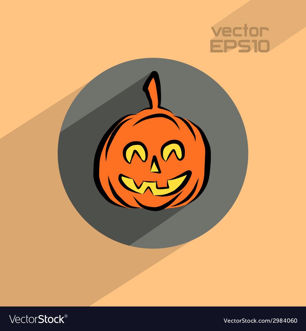 Halloween pumpkin flat icon vector | Price: 1 Credit (USD $1)