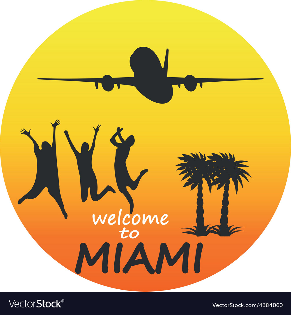 Miami - badge - emblem - summer tropical vector | Price: 1 Credit (USD $1)