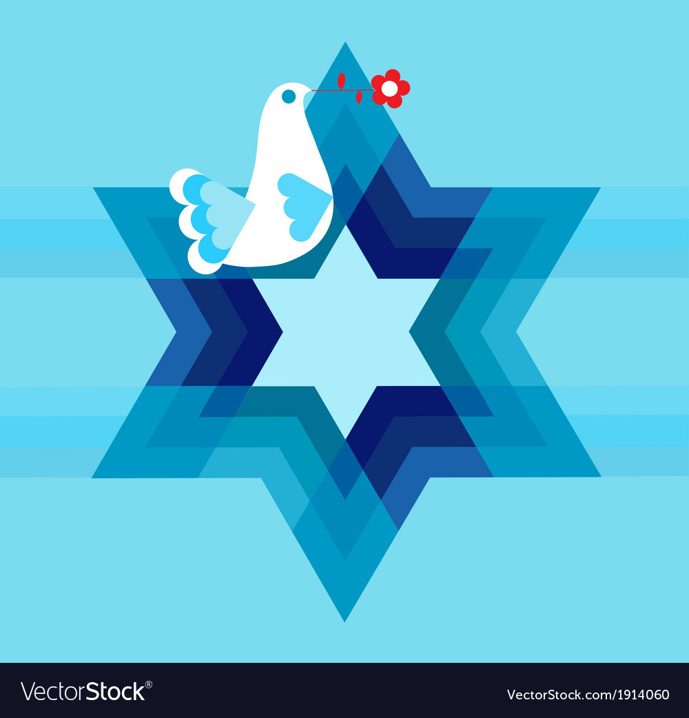 Peace pigeon with david star on blue vector | Price: 1 Credit (USD $1)