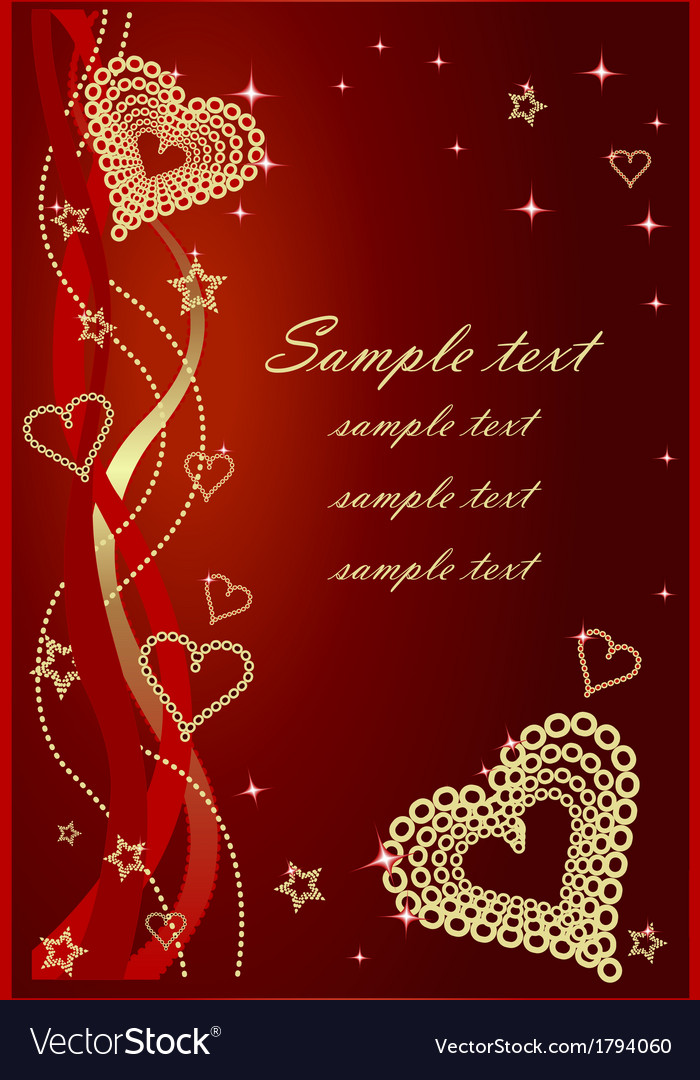 Red valentine background with bows and hearts vector | Price: 1 Credit (USD $1)