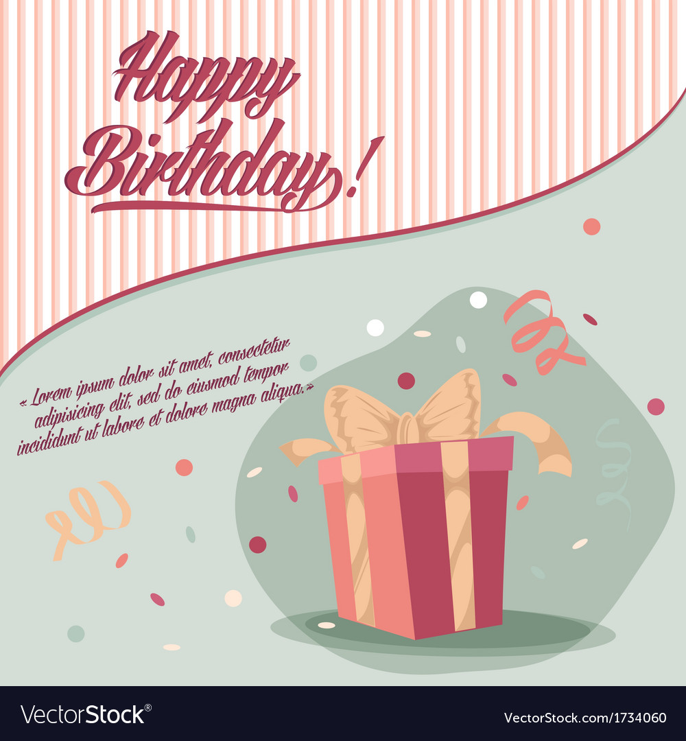 Retro vintage happy birthday card with gifts vector | Price: 1 Credit (USD $1)