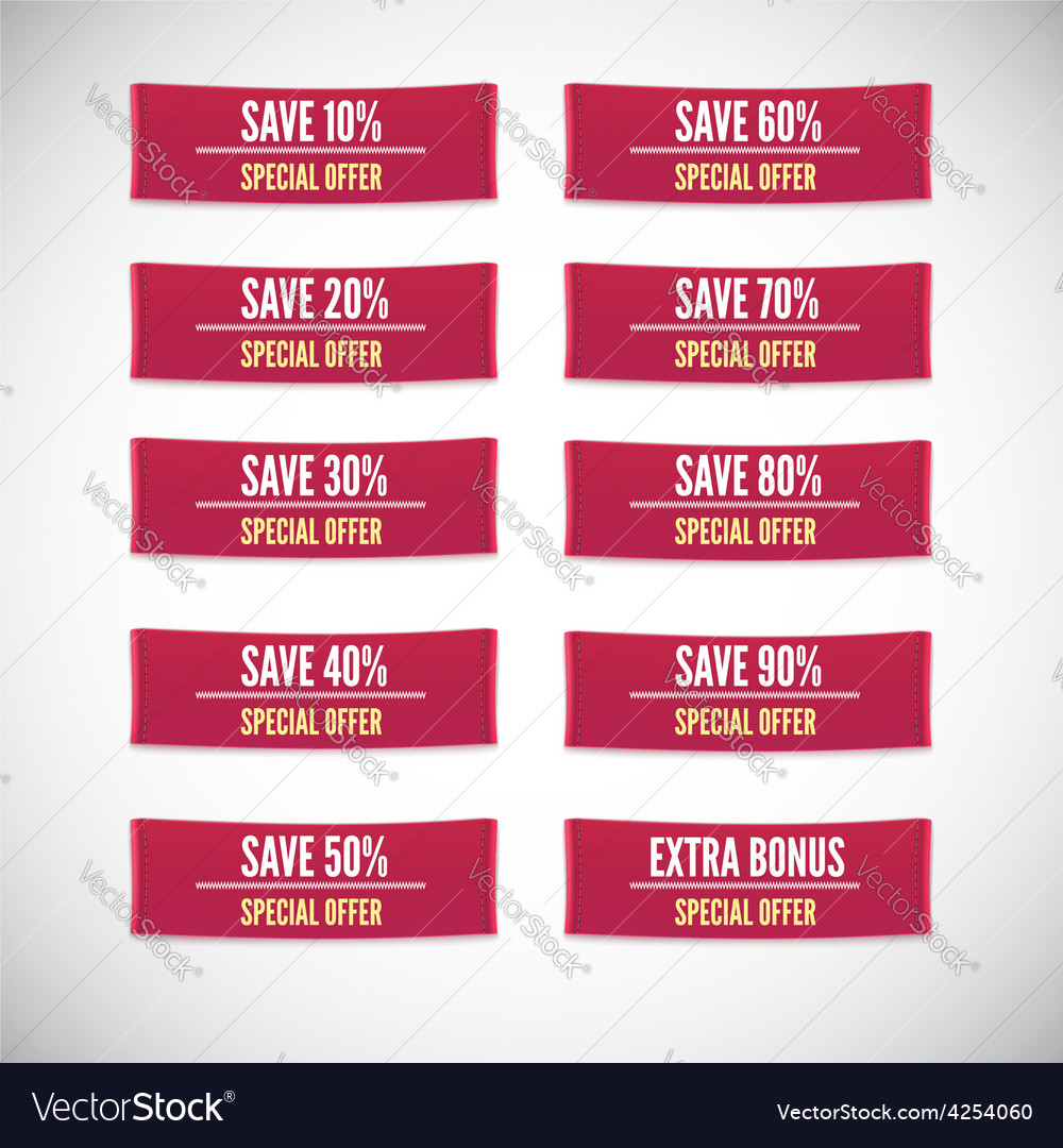 Sale clothing labels set of discounts vector | Price: 1 Credit (USD $1)