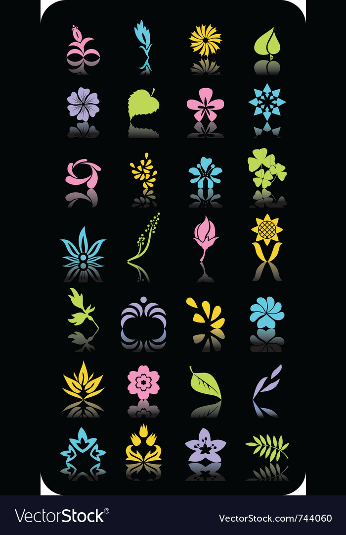 Separate flowers and leaves realistic and fantasy vector | Price: 1 Credit (USD $1)