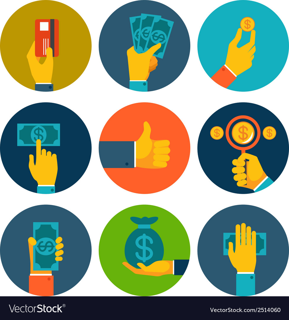 Set of colorful money in hands icons vector | Price: 1 Credit (USD $1)