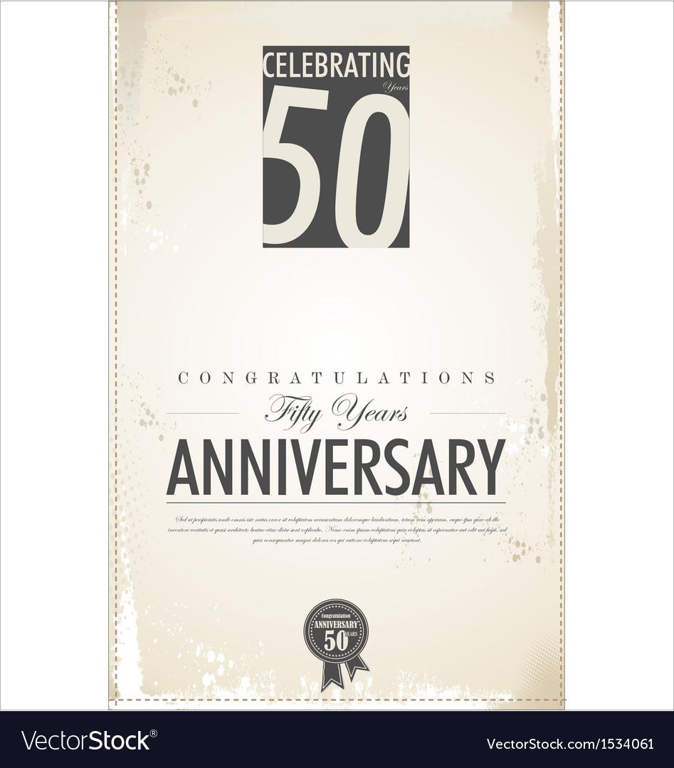 50 years anniversary retro background vector | Price: 1 Credit (USD $1)