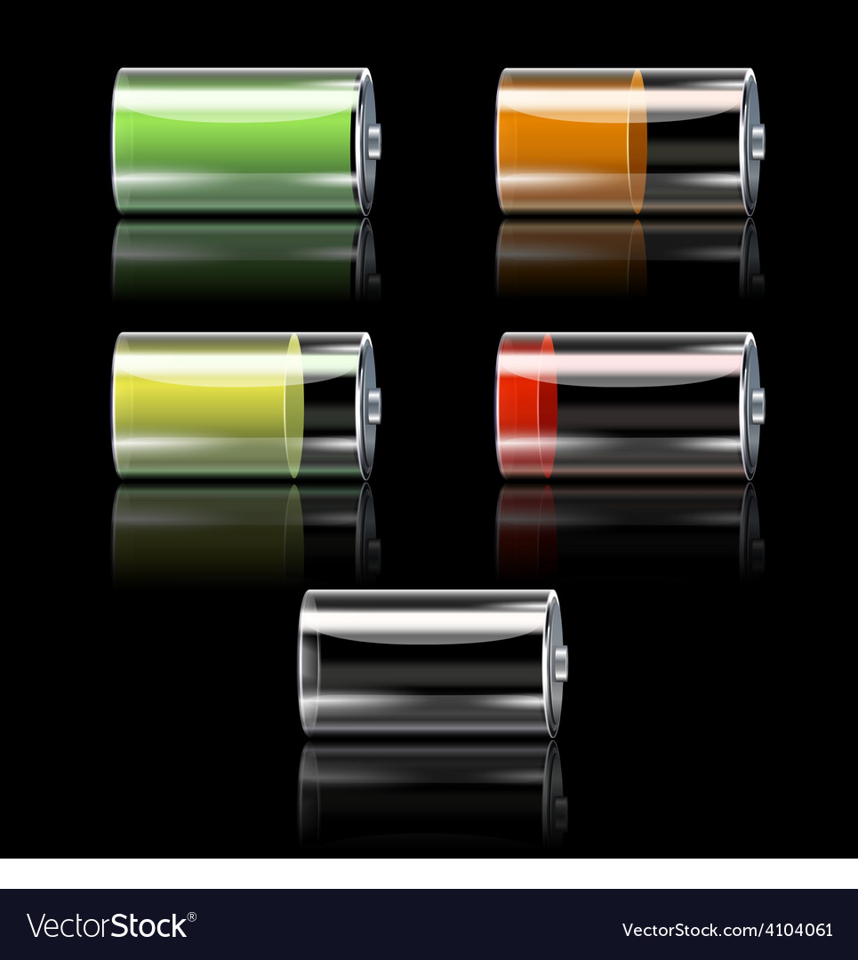 Battery set with different charge levels vector | Price: 1 Credit (USD $1)