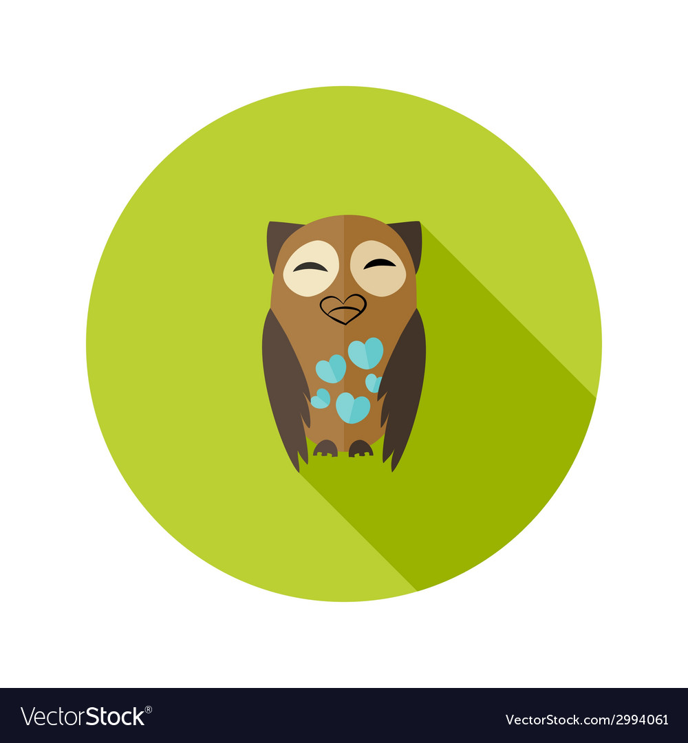 Brown owl flat icon with hearts over green vector | Price: 1 Credit (USD $1)