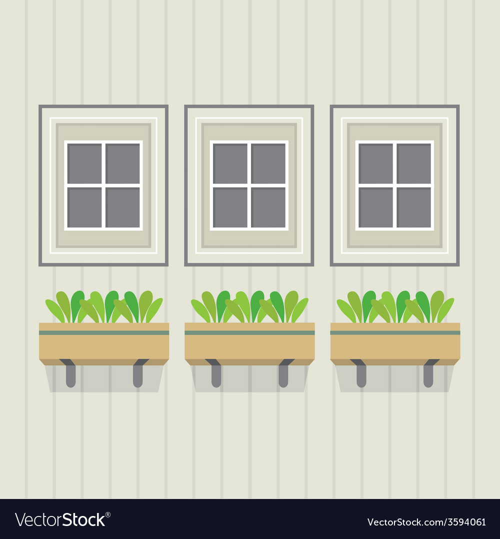 Closed windows with pot plants below vector | Price: 1 Credit (USD $1)