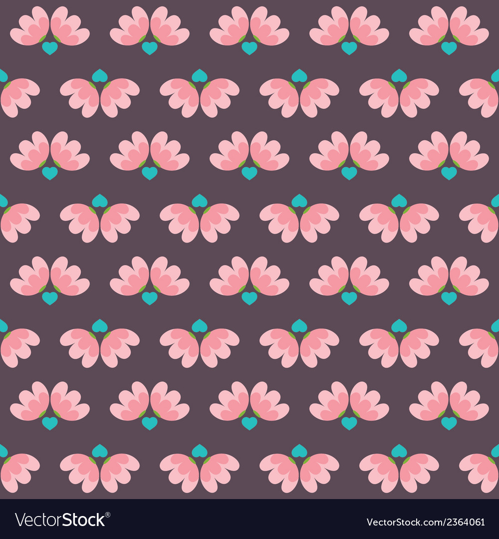 Flowers and heart pattern vector | Price: 1 Credit (USD $1)