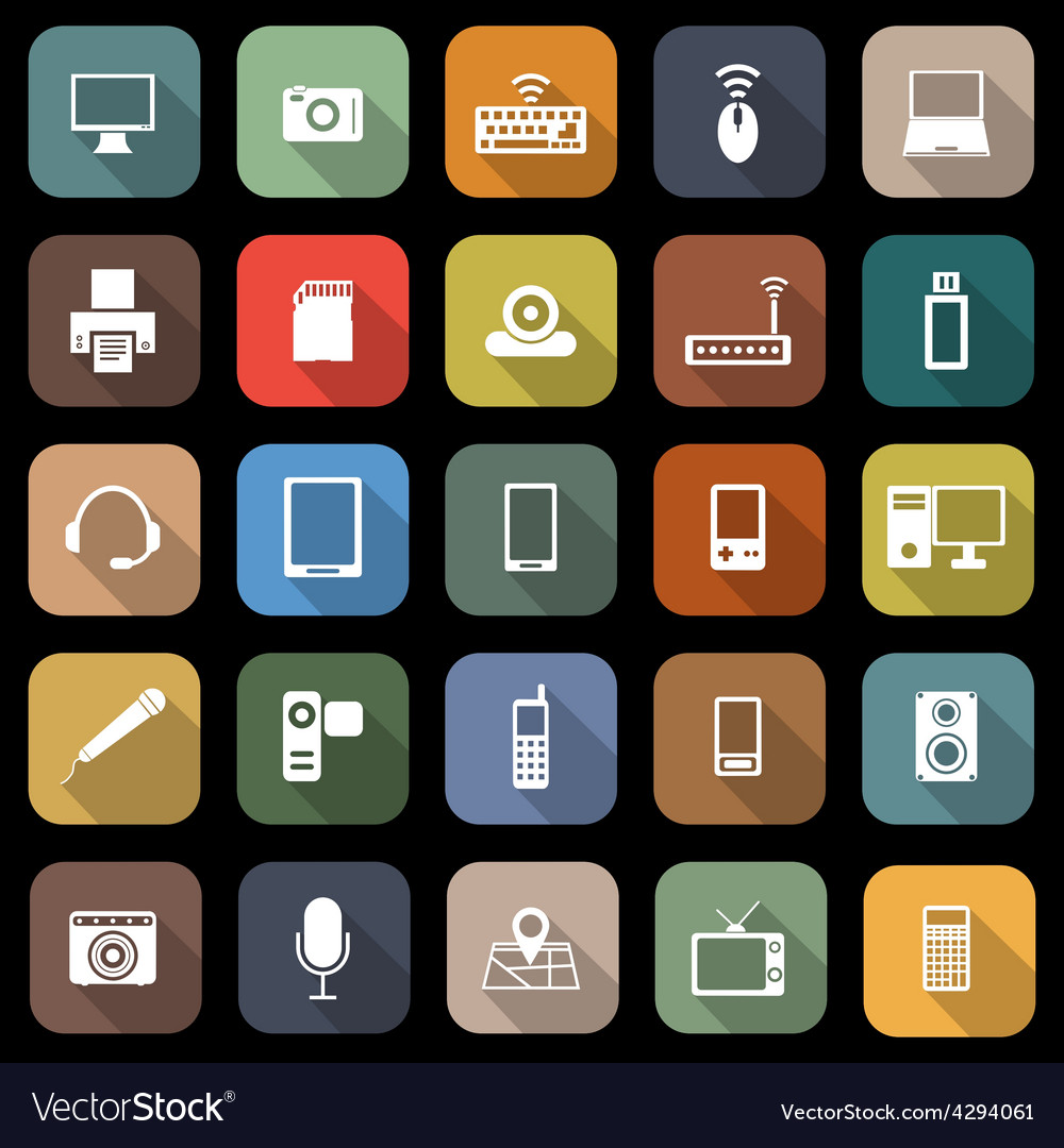 Gadget flat icons with long shadow vector | Price: 1 Credit (USD $1)