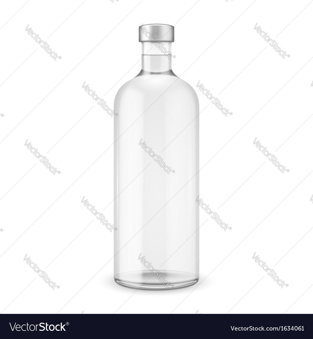 Glass vodka bottle with silver cap vector | Price: 1 Credit (USD $1)