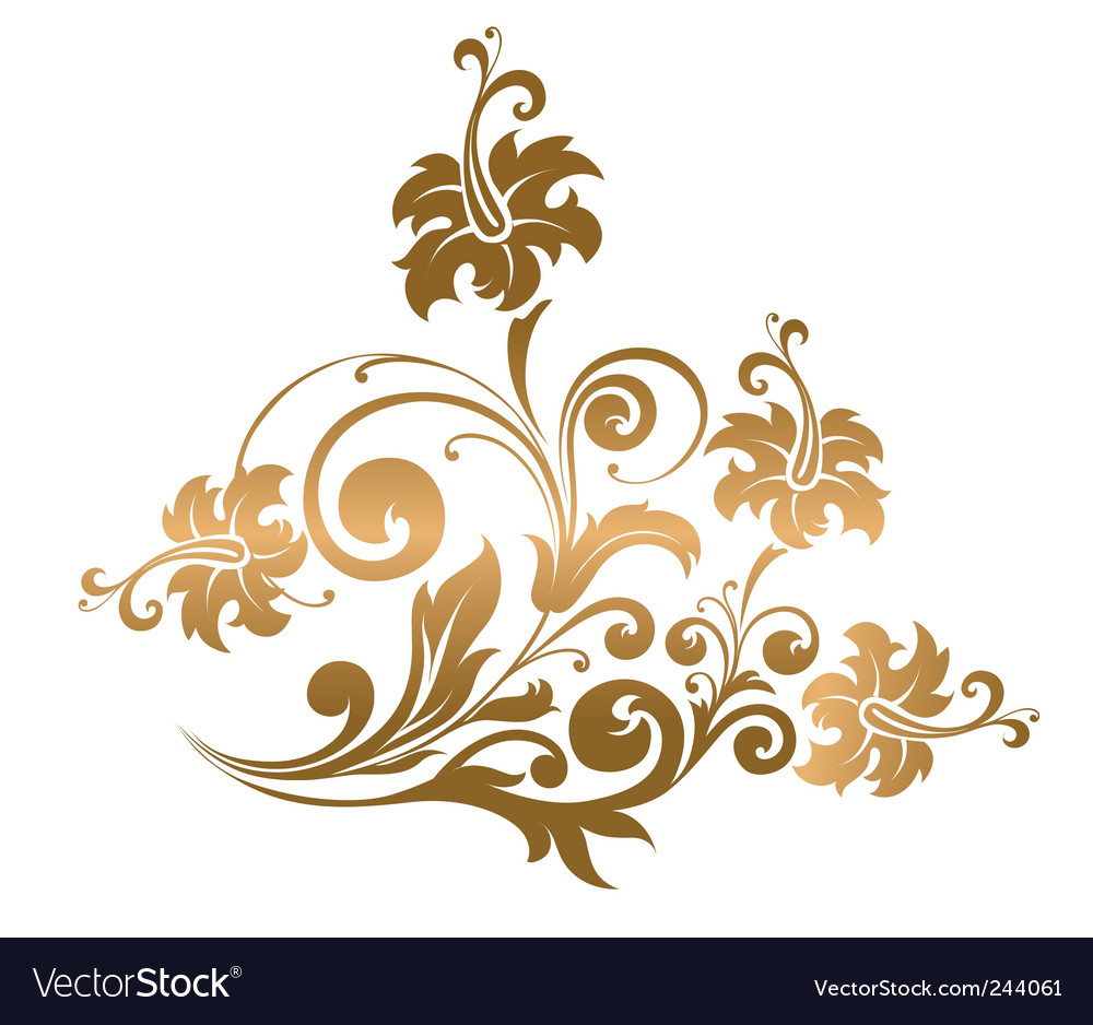 Gold floral ornament vector | Price: 1 Credit (USD $1)