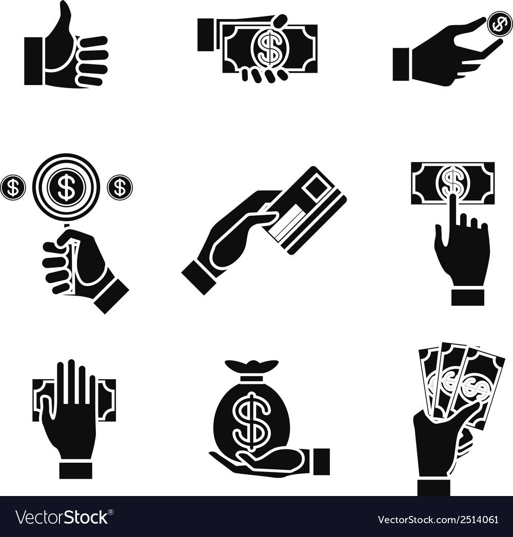 Icons of hands holding money vector | Price: 1 Credit (USD $1)