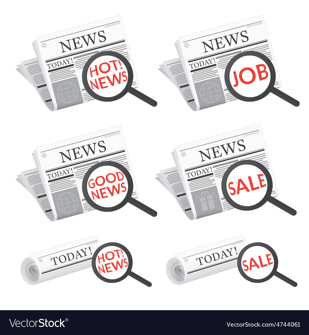 Newspaper with magnifying glass search symbol vector   Price: 3 Credit (USD $3)