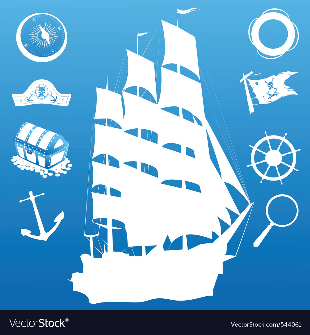 Sailing silhouette vector | Price: 1 Credit (USD $1)