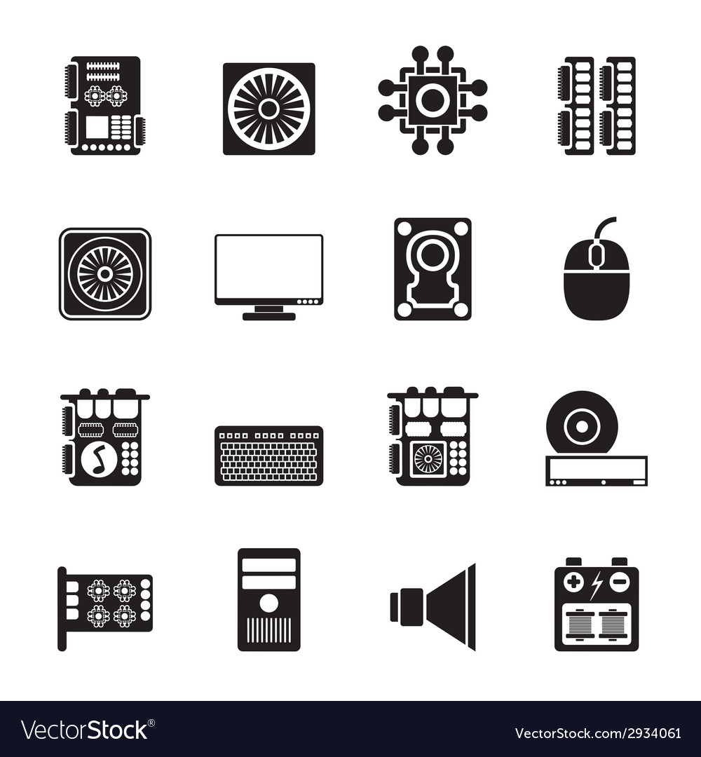 Silhouette computer performance and equipment vector | Price: 1 Credit (USD $1)