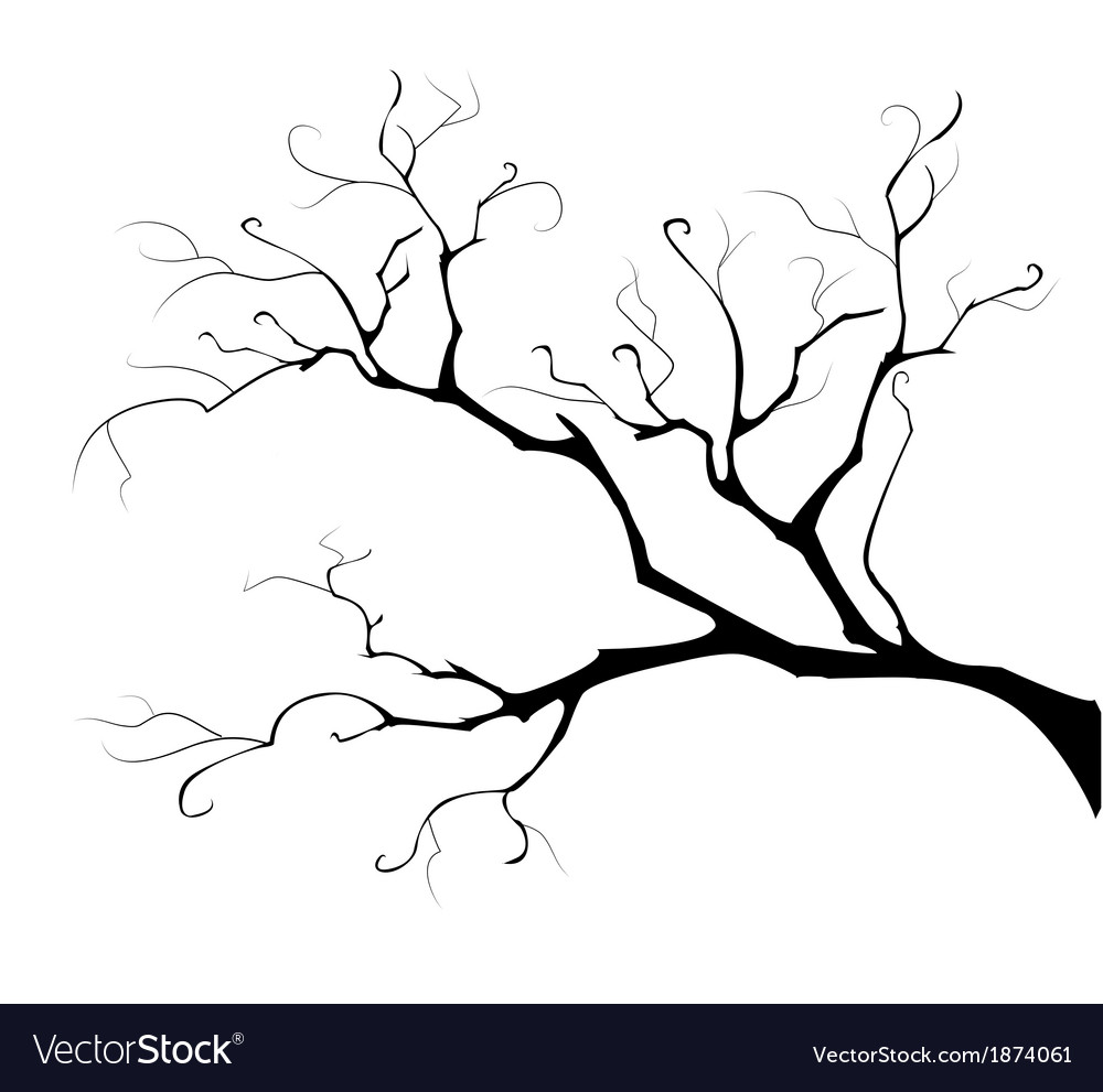 Silhouette of the branch tree vector | Price: 1 Credit (USD $1)