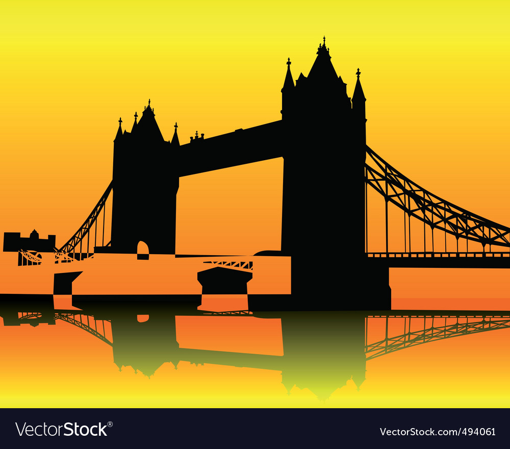 Silhouette tower bridge vector | Price: 1 Credit (USD $1)