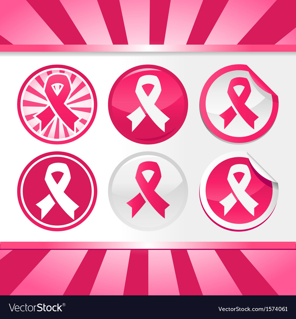 Sticker and buttons with pink awareness ribbons vector | Price: 1 Credit (USD $1)