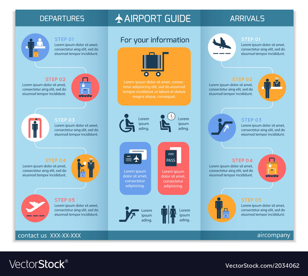 Airport business infographic brochure vector | Price: 1 Credit (USD $1)