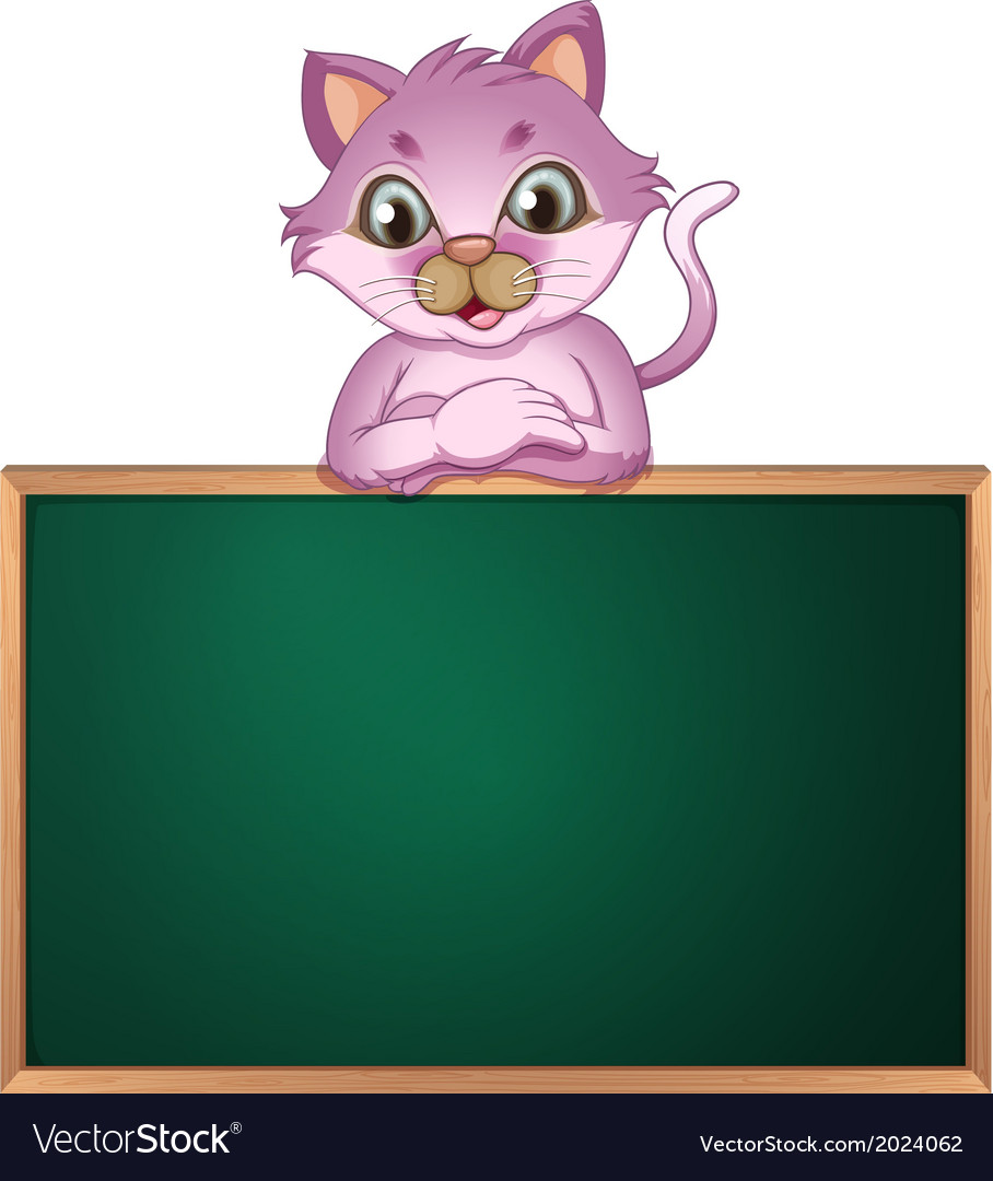 An empty greenboard with a cute cat vector | Price: 1 Credit (USD $1)