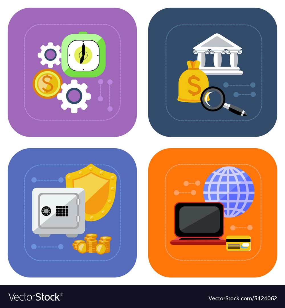 Banking and finance investment icon set vector | Price: 1 Credit (USD $1)