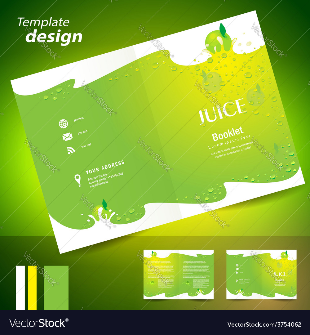 Brochure folder juice fruit drops liquid fruit vector | Price: 1 Credit (USD $1)