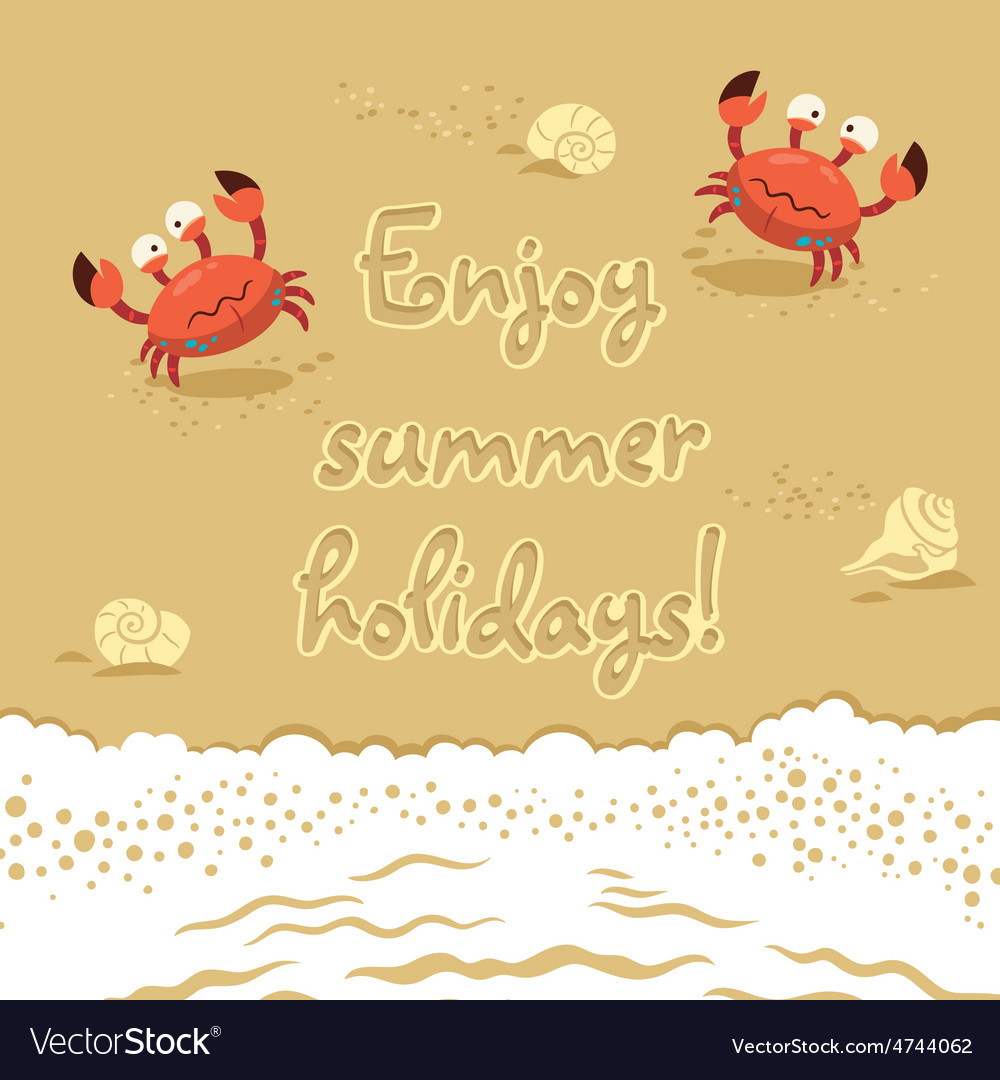 Cute of crabs and lettering on vector | Price: 1 Credit (USD $1)
