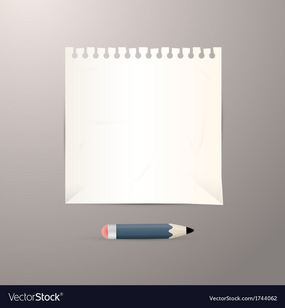 Empty white paper sheet with pencil vector | Price: 1 Credit (USD $1)